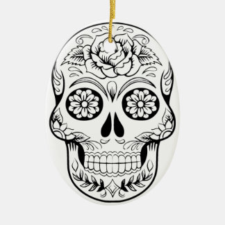 Sugar Skull Ceramic Oval Ornament
