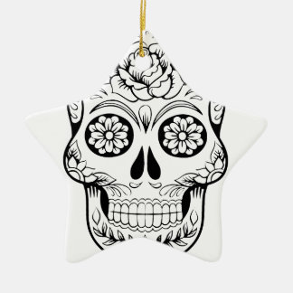 Sugar Skull Ceramic Star Ornament