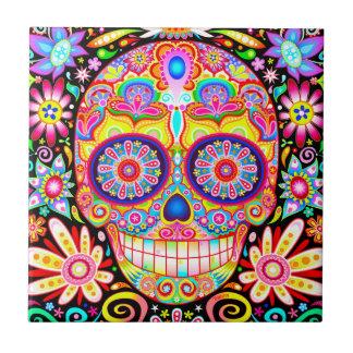 Sugar Skull Ceramic Tile - Day of the Dead Art
