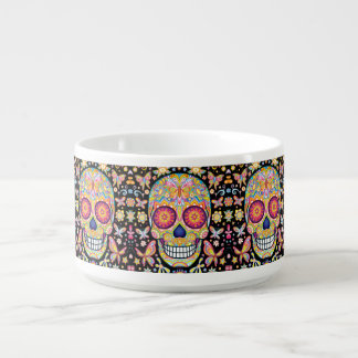 Sugar Skull Chili Bowl - Day of the Dead Art