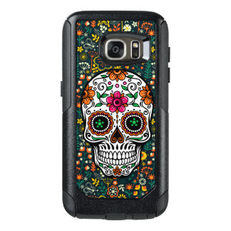 Sugar Skull & Colorful Flowers Illustration OtterBox Samsung Galaxy S7 Case