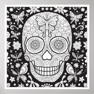 Sugar Skull Coloring Poster - Colorable Skull Art