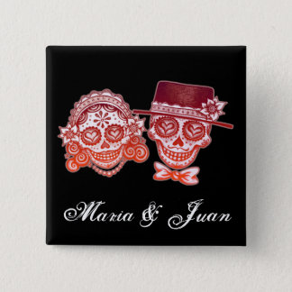 Sugar Skull Couple Button - Customize w/your names