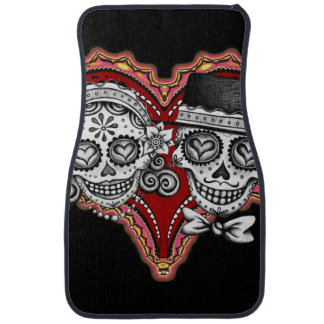 Sugar Skull Couple Car Mats - Front Set of 2