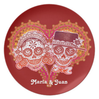 Sugar Skull Couple Plate - Customize with names!