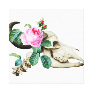 Sugar Skull Cow Rose Canvas Print