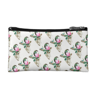 Sugar Skull Cow Rose Cosmetic Bag