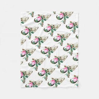 Sugar Skull Cow Rose Fleece Blanket