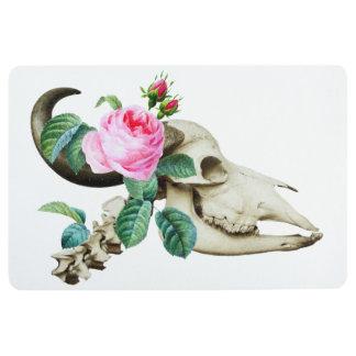 Sugar Skull Cow Rose Floor Mat