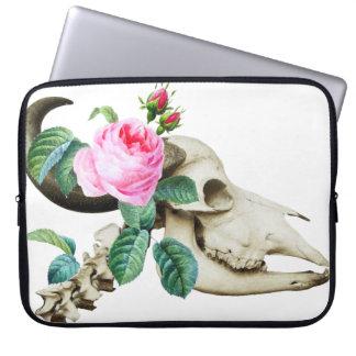 Sugar Skull Cow Rose Laptop Sleeve