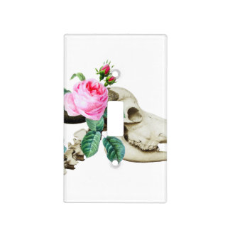 Sugar Skull Cow Rose Light Switch Cover