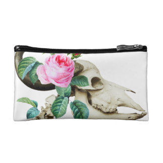 Sugar Skull Cow Rose Makeup Bag