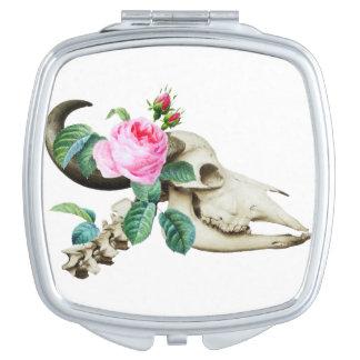 Sugar Skull Cow Rose Makeup Mirror