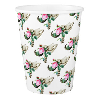 Sugar Skull Cow Rose Paper Cup