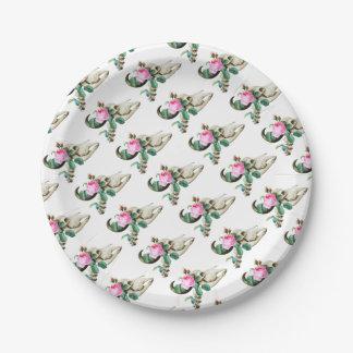 Sugar Skull Cow Rose Paper Plate