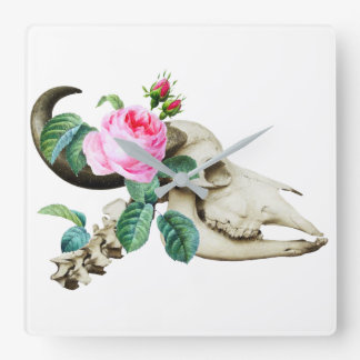 Sugar Skull Cow Rose Square Wall Clock