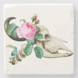 Sugar Skull Cow Rose Stone Coaster
