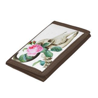 Sugar Skull Cow Rose Tri-fold Wallets