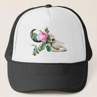 Sugar Skull Cow Rose Trucker Hat