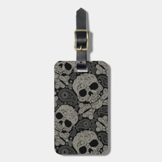 Sugar Skull Crossbones Pattern Luggage Tag