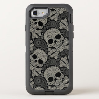 Sugar Skull Crossbones Pattern OtterBox Defender iPhone 7 Case