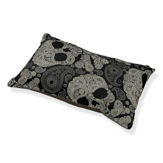 Sugar Skull Crossbones Pattern Small Dog Bed