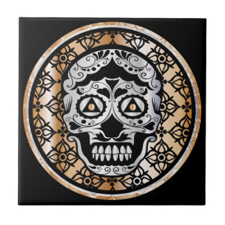 Sugar Skull Damask Metallic Silver and Copper Tile