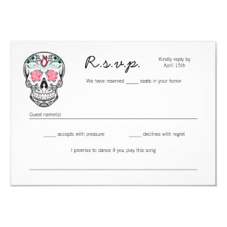 Sugar Skull Dancing Skeletons Wedding RSVP cards