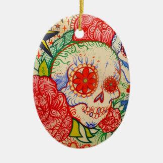 sugar skull day of dead tattoo mexican decoration ceramic oval ornament