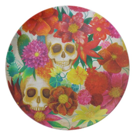 sugar skull day of dead tattoo Mexican plate