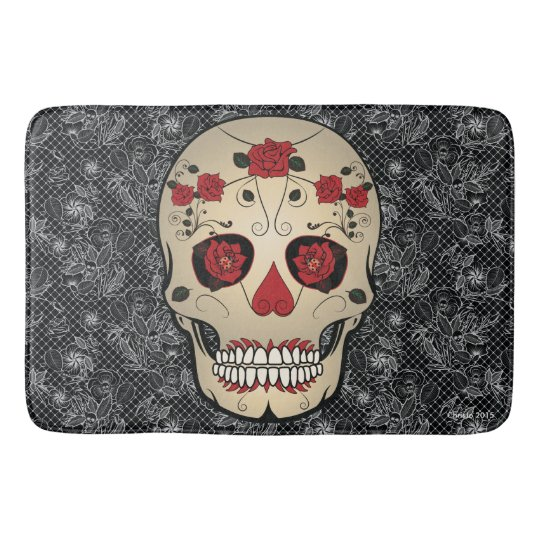 Sugar Skull Day of the Dead Bath Mat Home Decor