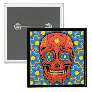 Sugar Skull - Day of the Dead (Blue Daisies) 2 Inch Square Button