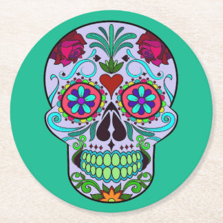 Sugar Skull Day of the Dead Colorful Drink Coaster