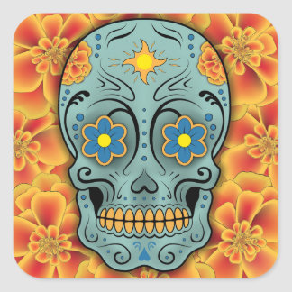 Sugar Skull - Day of the Dead (Marigold) Square Sticker
