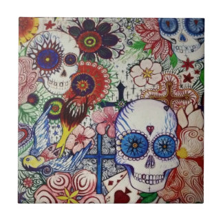 sugar skull day of the dead mexican tatto tile art