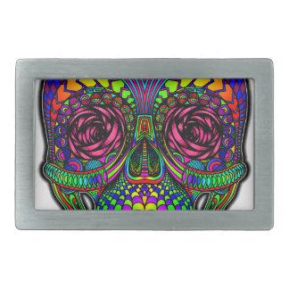 Sugar Skull Day of the Dead Rainbow Colorful Art Belt Buckles