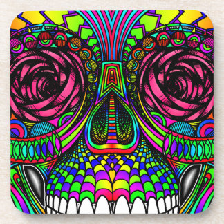 Sugar Skull Day of the Dead Rainbow Colorful Art Beverage Coaster
