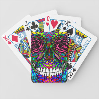 Sugar Skull Day of the Dead Rainbow Colorful Art Bicycle Playing Cards
