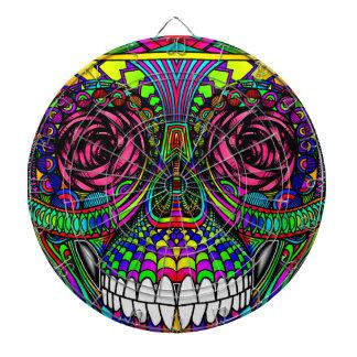 Sugar Skull Day of the Dead Rainbow Colorful Art Dartboard With Darts
