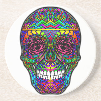 Sugar Skull Day of the Dead Rainbow Colorful Art Drink Coaster