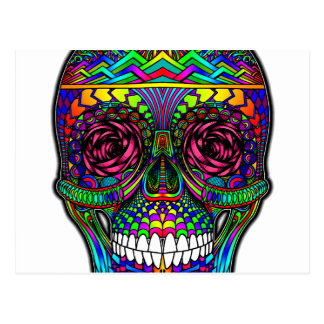 Sugar Skull Day of the Dead Rainbow Colorful Art Postcard