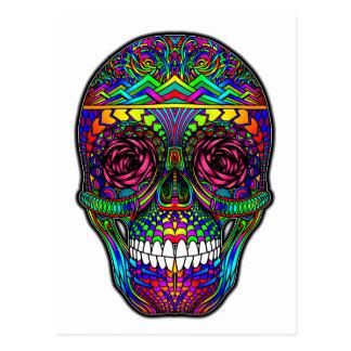 Sugar Skull Day of the Dead Rainbow Colorful Art Postcard