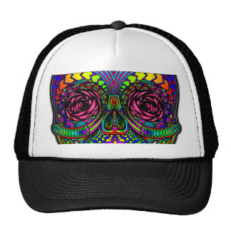 Sugar Skull Day of the Dead Rainbow Colorful Art Trucker Hat