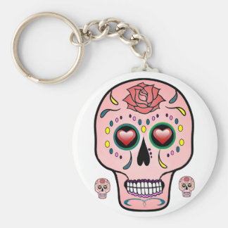Sugar skull  Day of the Dead rose keychain
