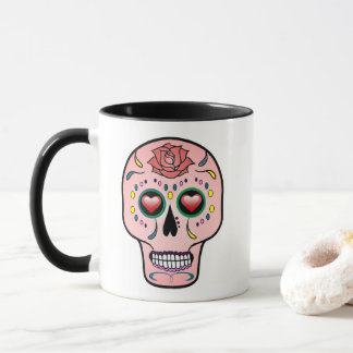 Sugar skull  Day of the Dead rose mug