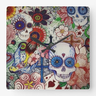 sugar skull day of the dead tattoo art clock