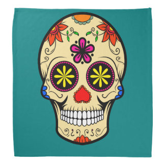 Sugar Skull Day of the Dead Teal Bandana