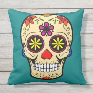 Sugar Skull Day of the Dead Teal Throw Pillow