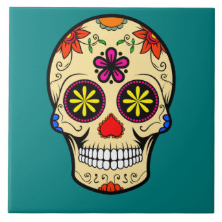 Sugar Skull Day of the Dead Teal Tile