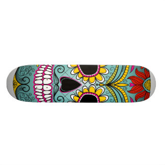 Sugar Skull Day of the Dead with floral ornaments Skate Board